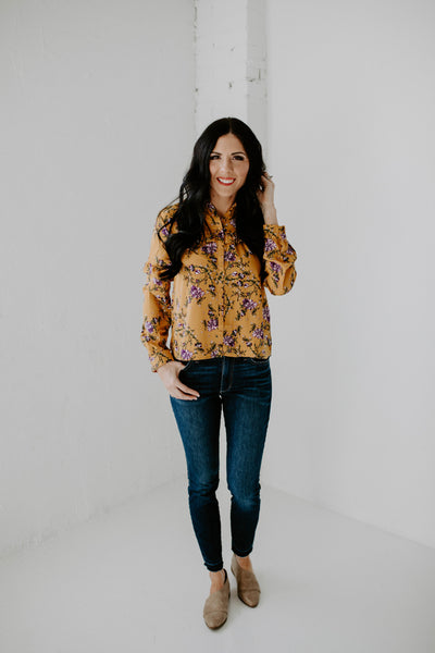 Long Sleeve Floral Button Down Top - Mustard