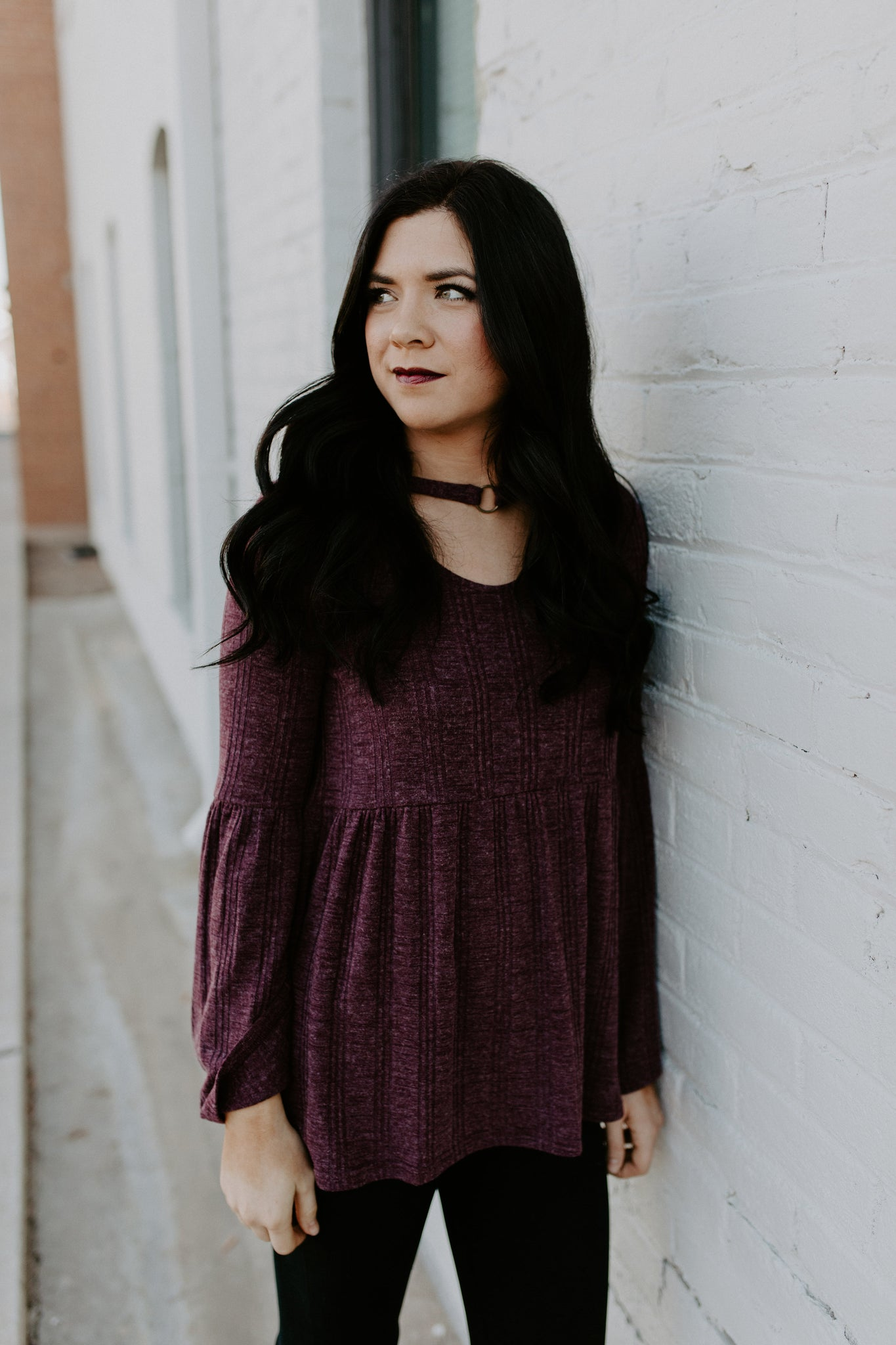 Plum Bell Sleeve Tunic