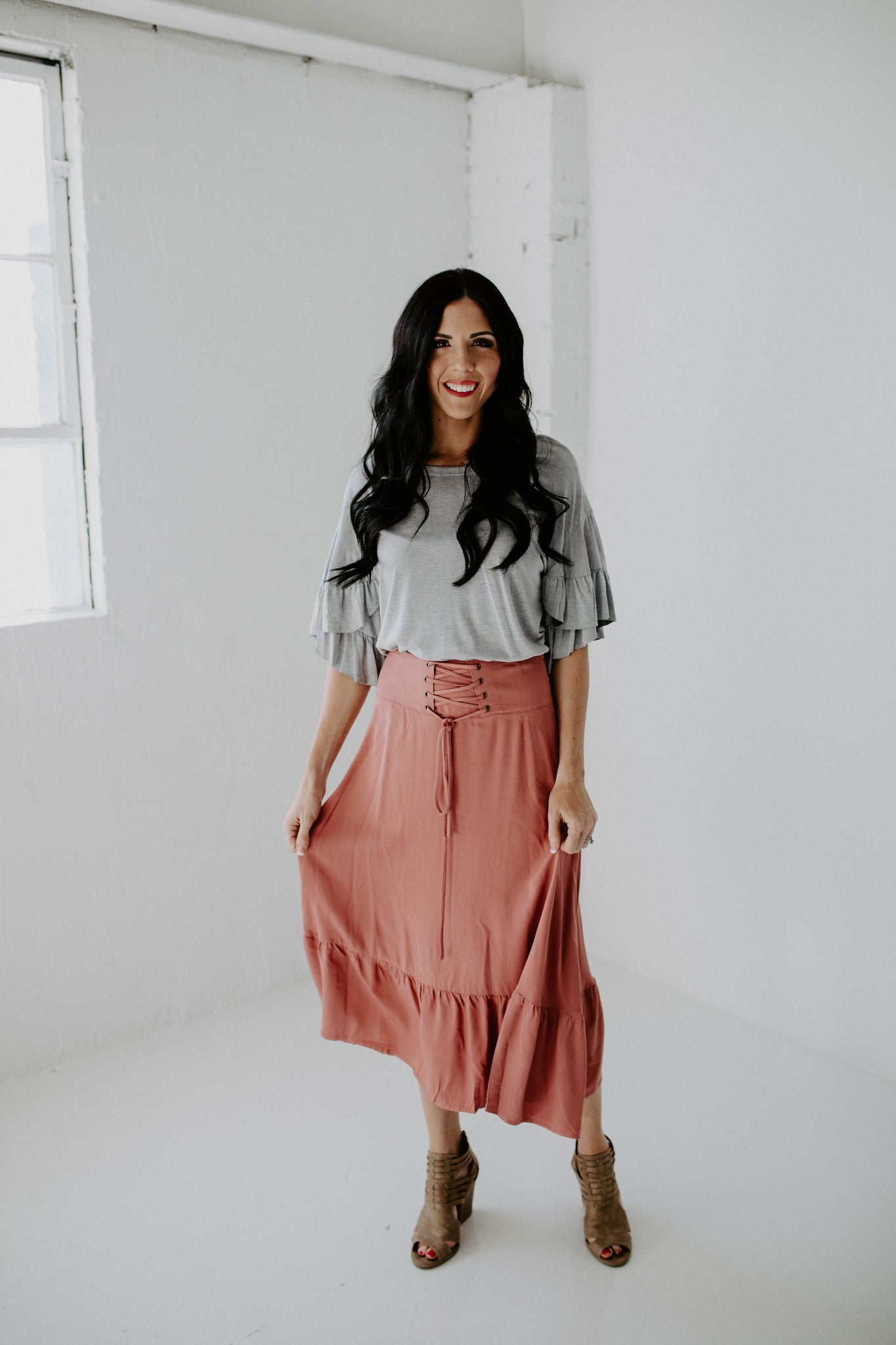 b2cc2a4791 Lace Up A Line Midi Skirt - Rose – daisy love boutique
