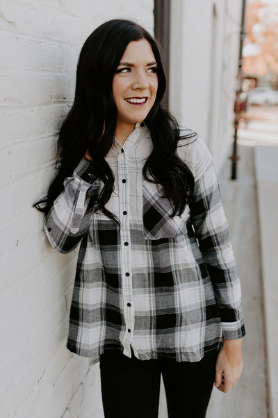 Color block Plaid Button up Top - Black/White