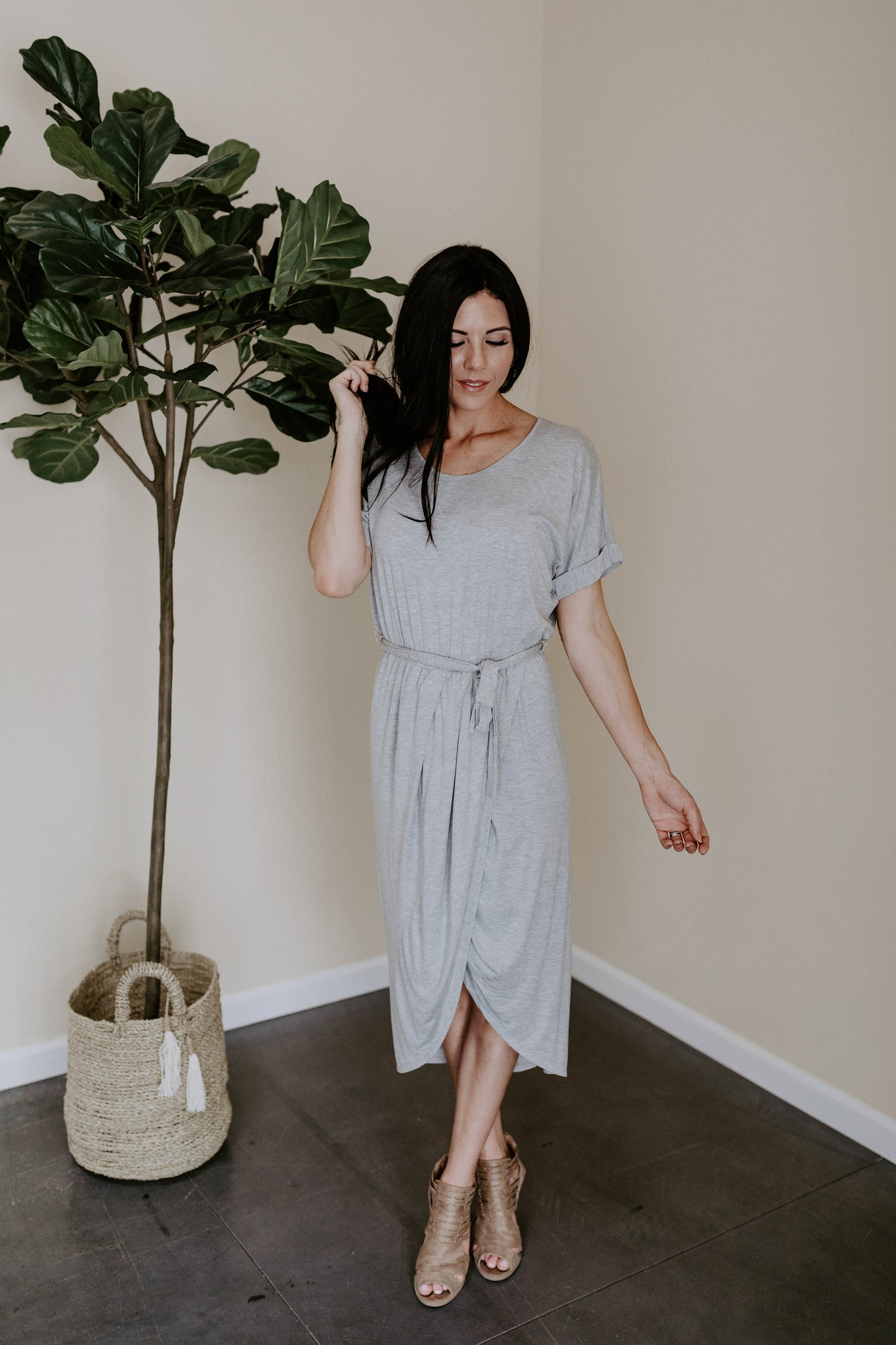 The Abigail Wrap Dress - Heather Grey