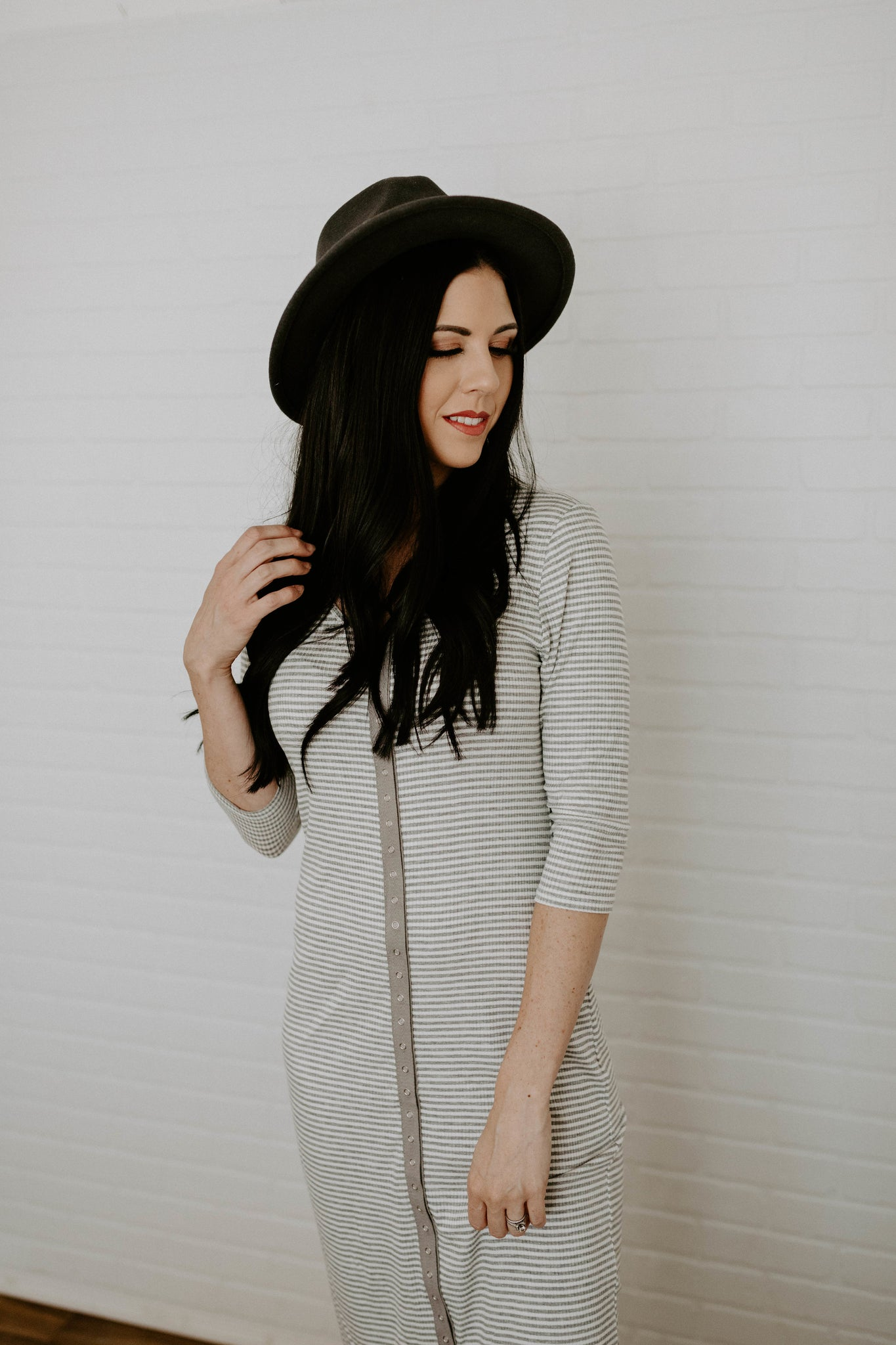 Stripe Rib Maxi Dress with Front Snaps