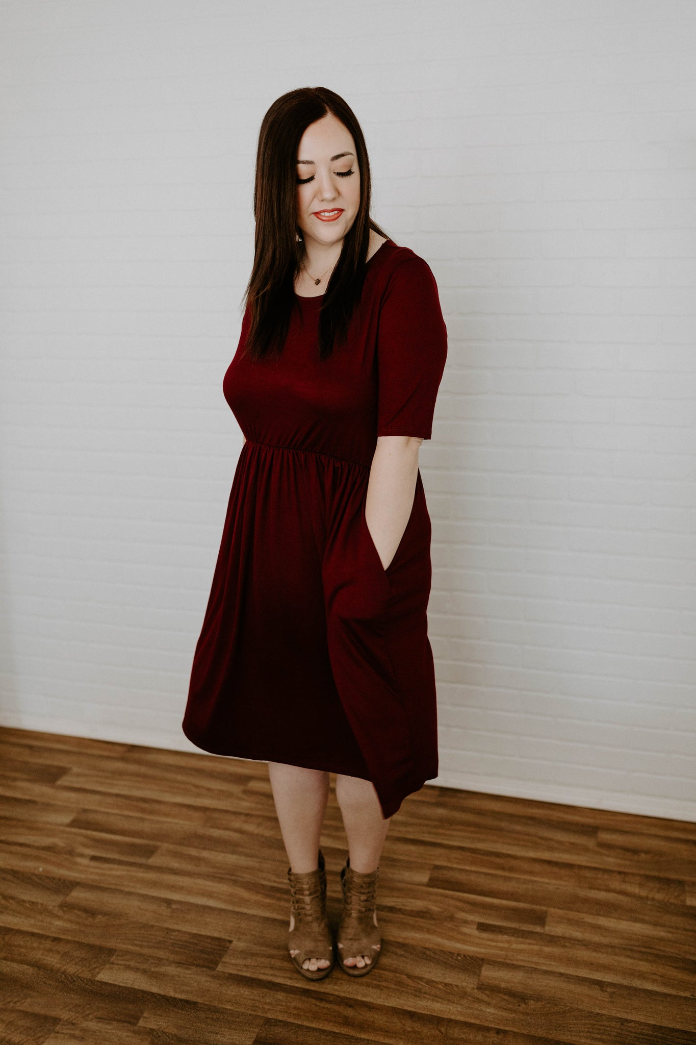 Shirring Waist Midi Dress with Pockets - Dk. Burgundy