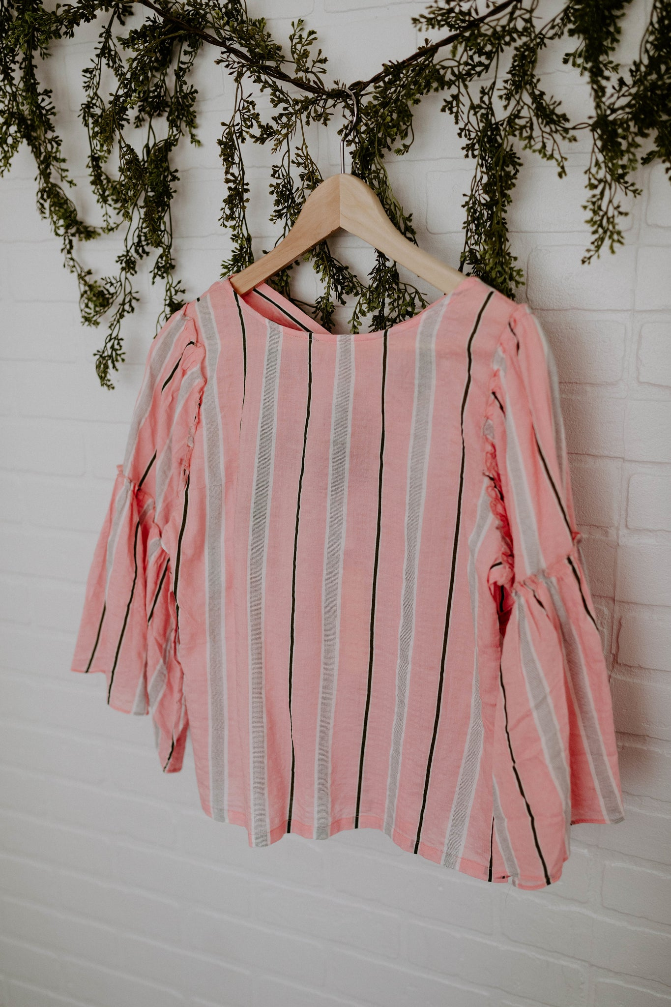 Striped Bell Sleeve Top with Criss Cross Back Detail