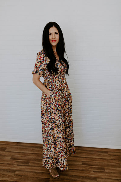 Floral Fit and Flare Maxi Dress - Ivory