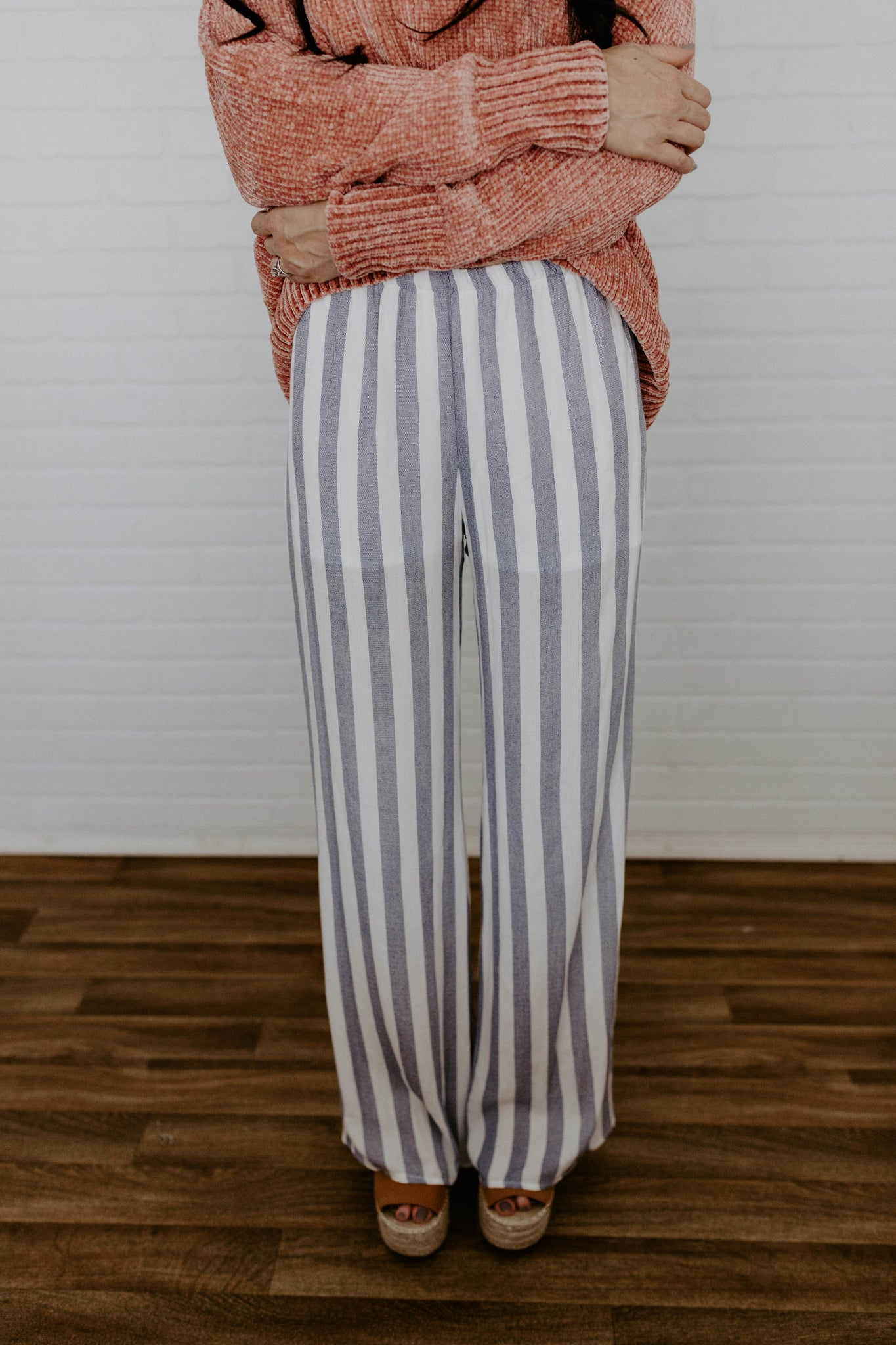 Striped Palazzo Pants - Blue