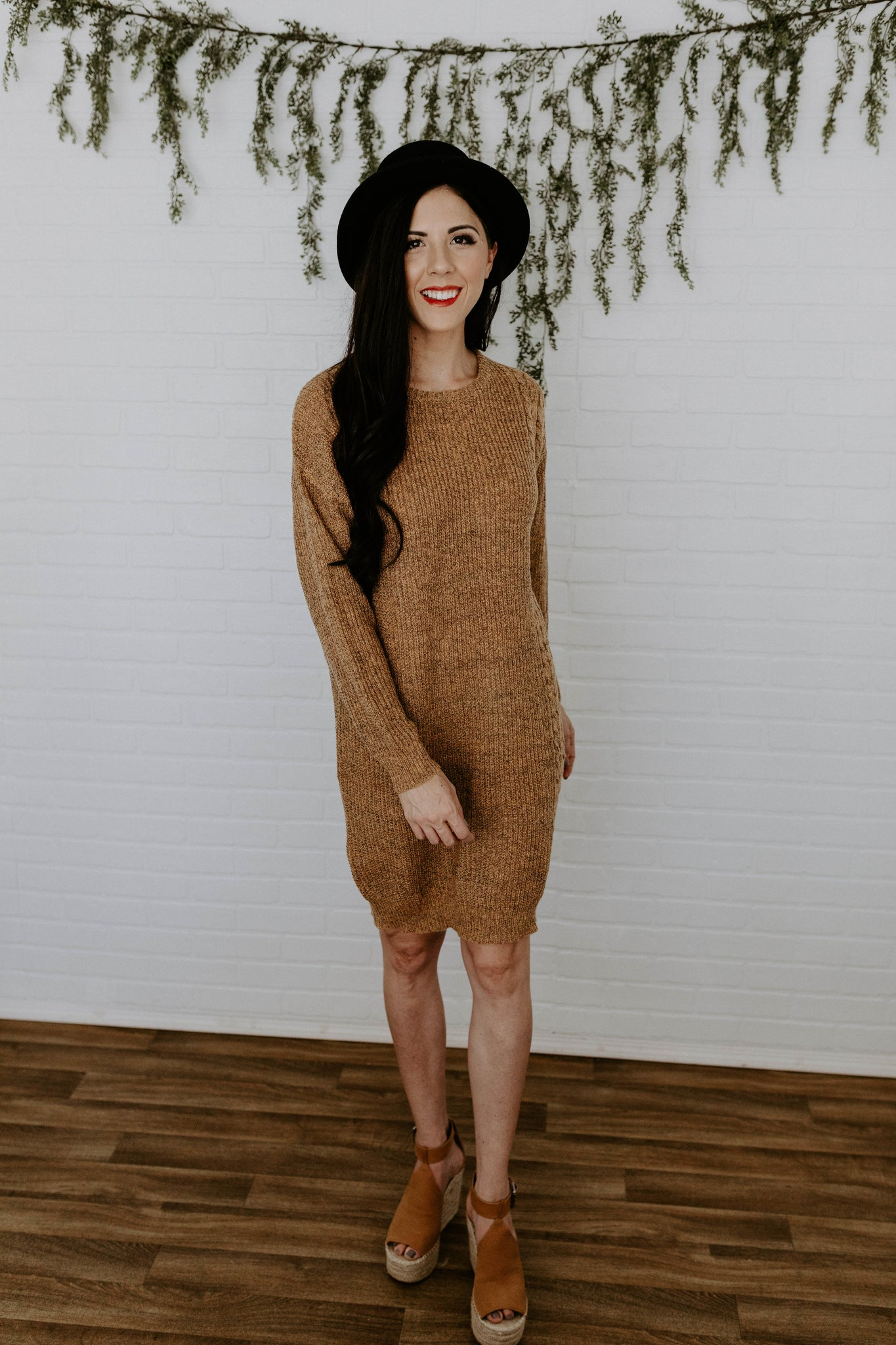 The Beth Sweater Dress - Camel