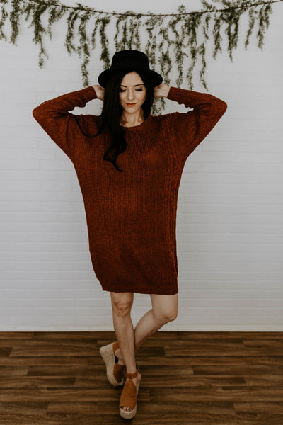 The Beth Sweater Dress - Rust