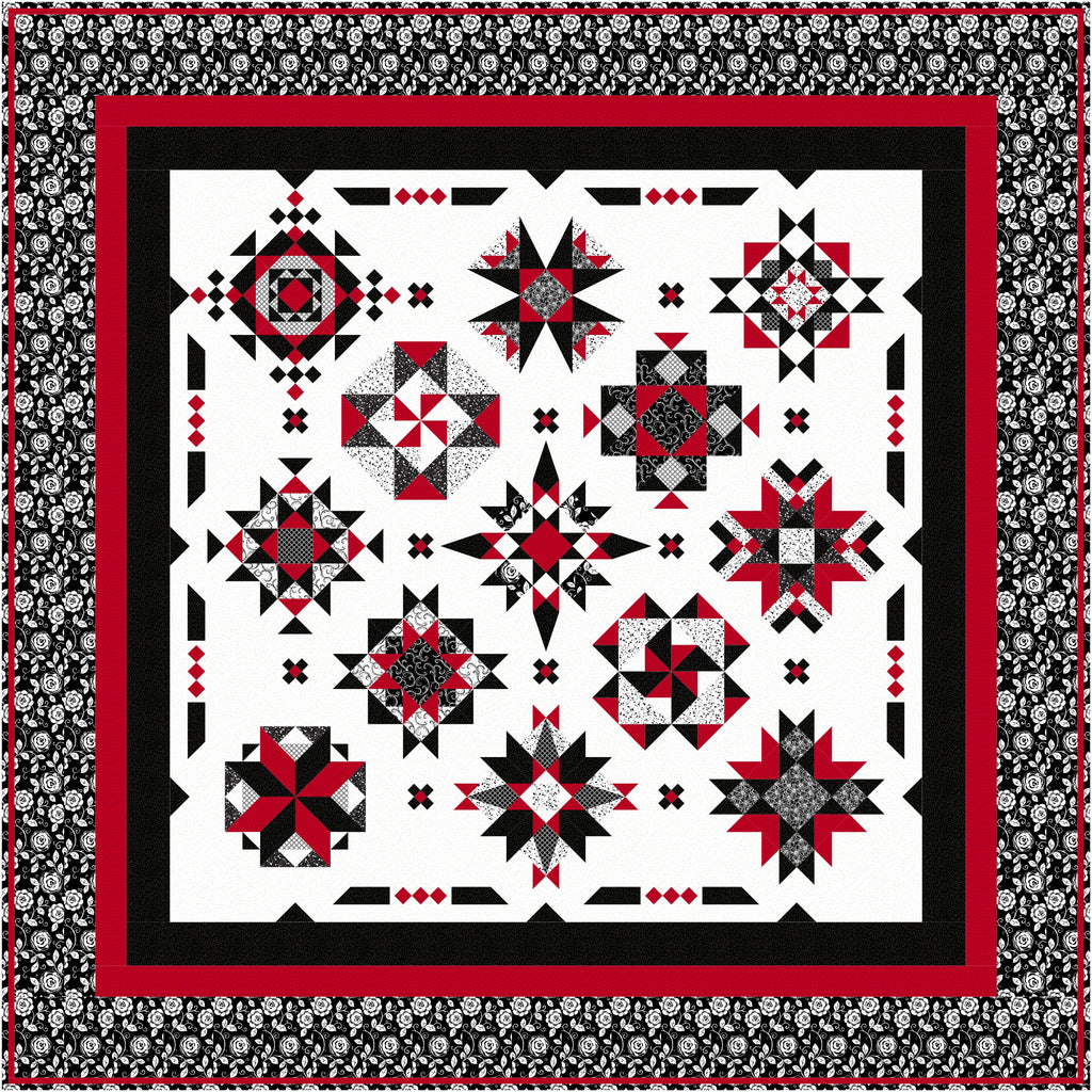 Red At Night 2 Block of the Month Pattern #193