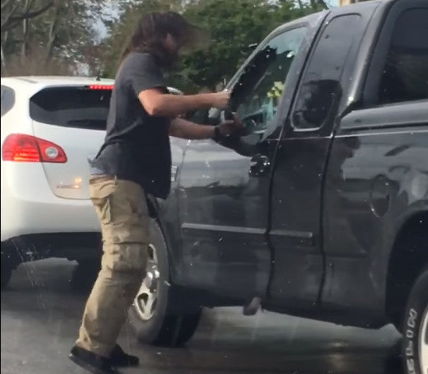 Road Rage Driver Smashes Car Window With Bare Fist And Pepper Sprays Motorist