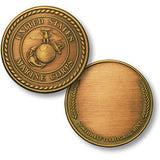 Marines - Wreath Bronze Antique  Challenge Coin Credential Case - MaxArmory