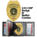 435 Concealed Handgun Permit Badge & Leather Custom Cut Wallet Combo