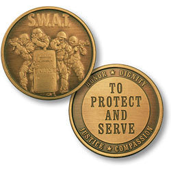 SWAT 4 Protect Bronze Antique  Challenge Coin Credential Case - MaxArmory