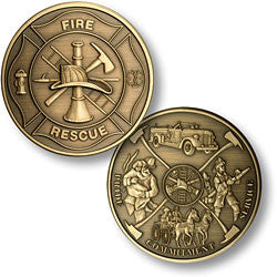 Maltese Cross - Fireman Theme  Challenge Coin Credential Case - MaxArmory