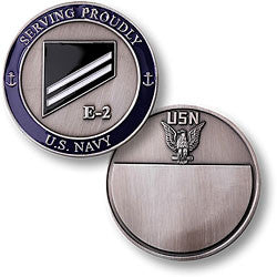 Navy E-2 White Challenge Coin Credential Case