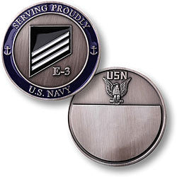 Navy E-3 White Challenge Coin Credential Case
