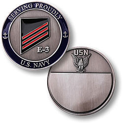 Navy E-3 Red Challenge Coin Credential Case