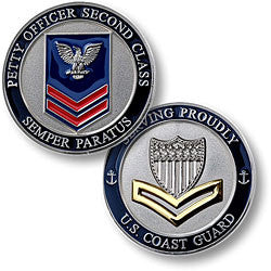 Coast Guard Petty Officer 2nd Class  Challenge Coin Credential Case - MaxArmory