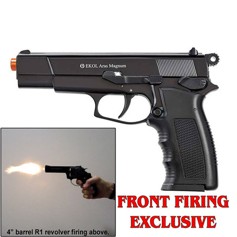EKOL VOLTRAN ARAS Magnum Black - Front Fire 9mm Blank Firing Gun Set - Includes 25 Rounds & Holster