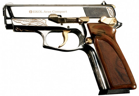 ARAS Compact Chrome Engraved with Gold Fittings - Top Firing Blank Gun - MaxArmory