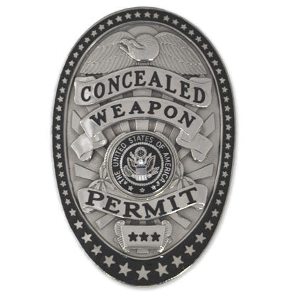 Concealed Weapon Permit Gun Metal Round Badge - MaxArmory