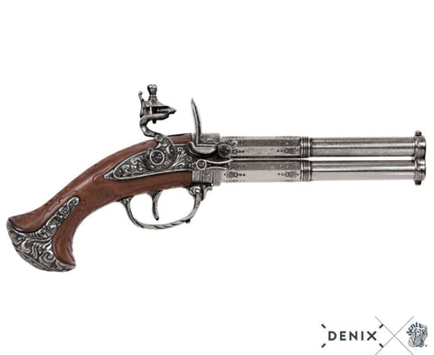 Denix - Revolving Double Barrel Flintlock Pistol, France 18th. C. Non-Firing Replica (Not Resin)