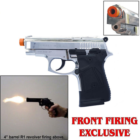 Zoraki M914 Chrome Machine Pistol - 9mm Front Firing Blank Gun - Includes 25 Rds of Ammo - MaxArmory