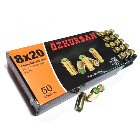 8mm Blank Ammo - 50 Rd Box (Brass Cased)