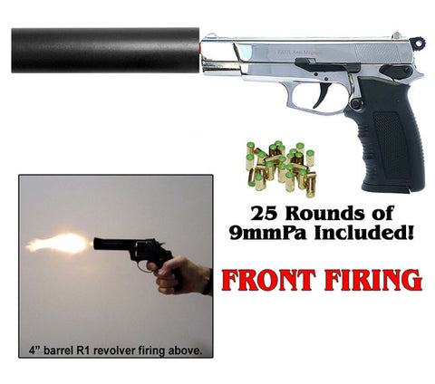 ARAS Chrome w/ Fake Suppressor - Front Firing Replica Gun