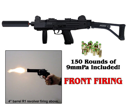 EKOL ASI Black - MAX-UZI ULTIMATE EDITION Front Firing Machine Blank Gun (Includes 150 rds, Fake Suppressor & Shoulder Stock)