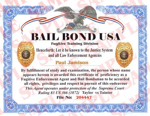 Bail Bond USA Certificate