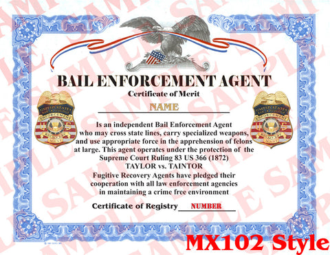 Bail Enforcement Agent Certificate