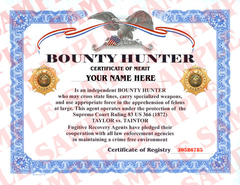Bounty Hunter Certificate - MaxArmory