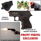 EKOL VOLTRAN Botan Capo Black - 9mm Front Firing Blank Gun Set - Includes 25 Rounds of 9mm PA Ammo & Holster