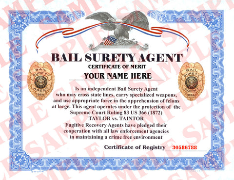 Bail Surety Agent Certificate