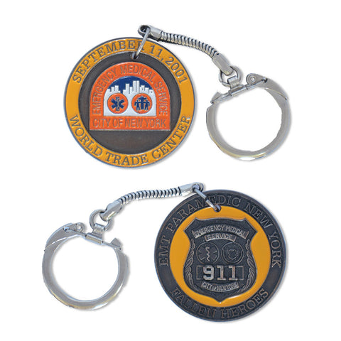 Closeout - 911 EMT Paramedic Challenge Coin Keychain - (brand new condition) - MaxArmory