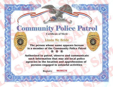 Community Police Patrol Certificate - MaxArmory