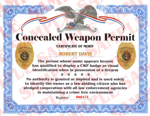 Concealed Weapons Permit Certificate - MaxArmory