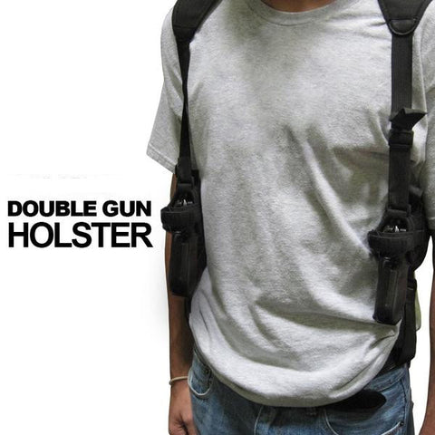 Shoulder Double Pistol Holster - Black