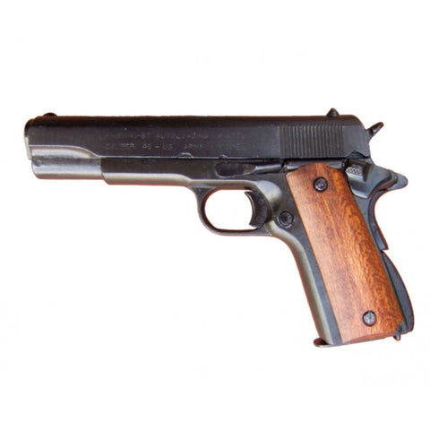 Denix M1911 .45 Caliber Government Automatic - Black with Wood Grips - Non-Firing Replica Gun