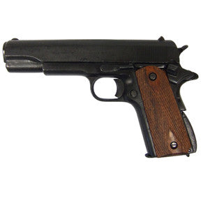 Denix M1911 Government Black Finish with Checkered Wood Grips - Non-Firing Replica Gun