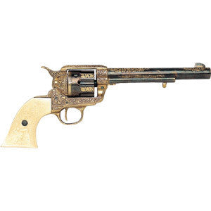Denix .45 Army Revolver Engraved Brass - Non-Firing Replica Gun - MaxArmory