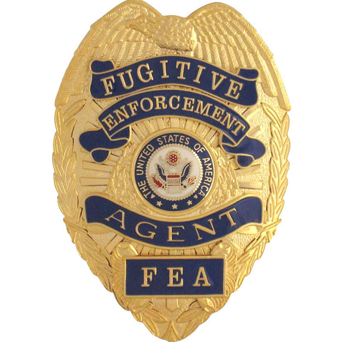 Fugitive Enforcement Badge with Reverse Panels (FREE LEATHER CASE w/ ID Window)