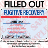 Fugitive Recovery Agent ID Card - MaxArmory