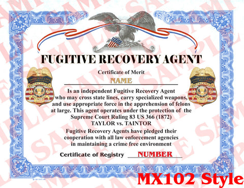 Fugitive Recovery Agent Certificate