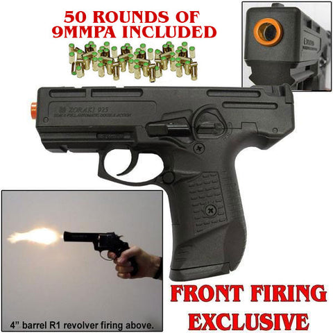 M925 Black - 9mm Full Auto Machine Pistol Front Firing Blank Gun (Includes Free Box of 50 Rd of 9mmPA)