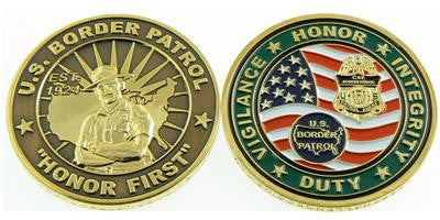 "Challenge Coin Credential Case - US Border Patrol ""HONOR FIRST"""