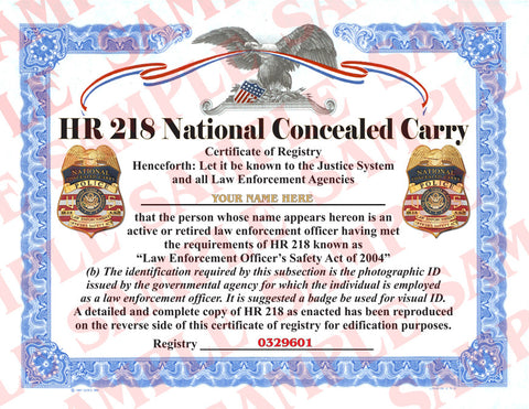 HR218 National Concealed Carry Certificate