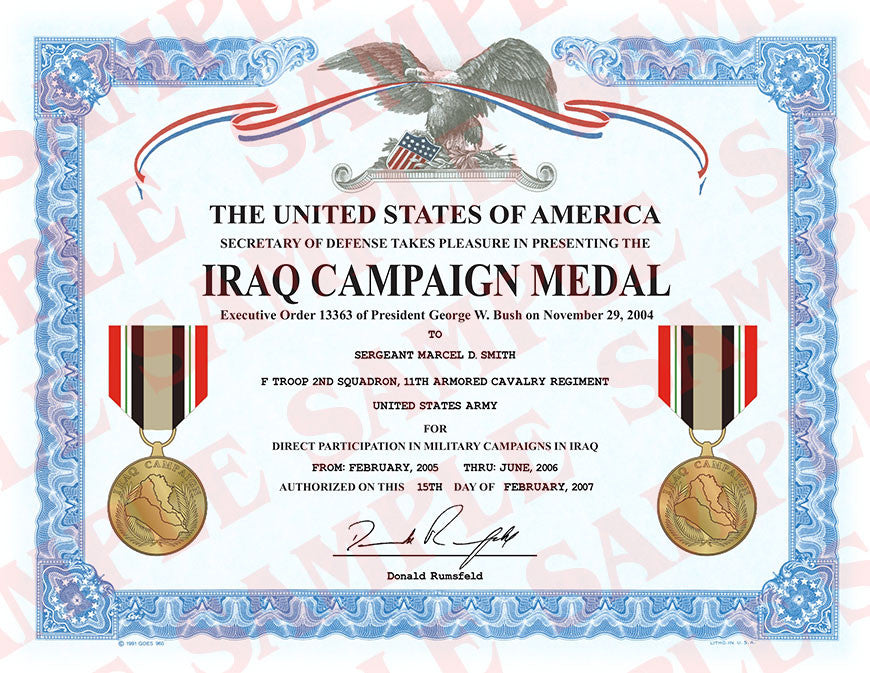 Iraq Campaign Medal Certificate – MaxArmory