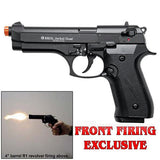 (FREE 25 RDS OF AMMO) EKOL Jackal Dual Magnum Black - Full Auto Front Fire 9mm Blank Firing Guns